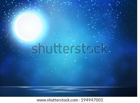 Night, moon & sea background. Raster illustration #194947001