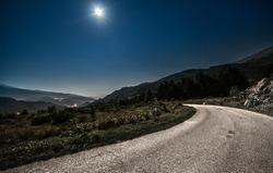 night mountain road. sky moon light