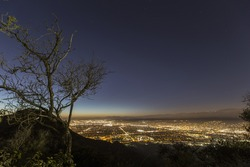 Night mountain top above Burbank and North Hollywood in Southern California.