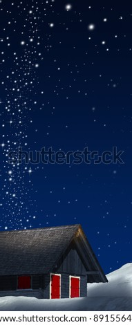Night mountain wood chalet with red windows and starry sky