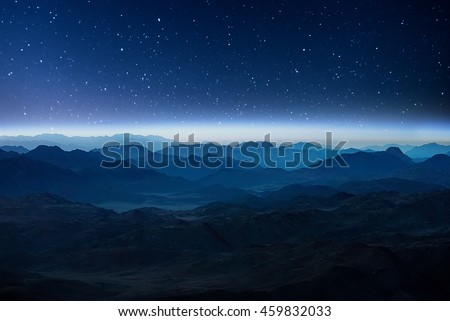 Night mountains before sunrise in the Egypt. Sinai Peninsula, the mountain of Moses