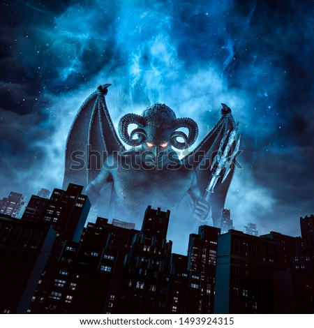 Night of the demon / 3D illustration of horned devil with wings and trident rising above city under night sky Stock photo ©