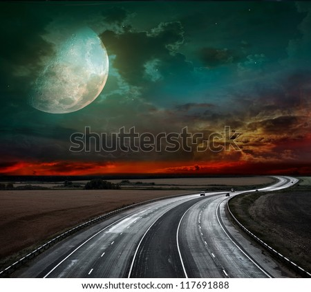 Night of the highway and huge moon