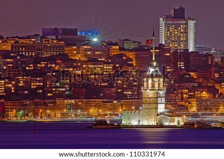 Night on Maiden or Leander's Tower at Istanbul as seen from Uskudar