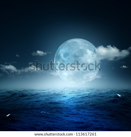 Night on the sea, natural backgrounds