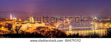 Night panorama Budapest, Hungary