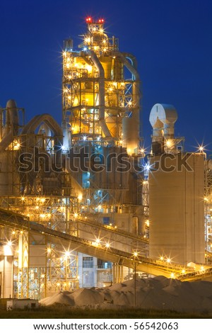 Night panorama image of chemical plant at night. Modern factory.