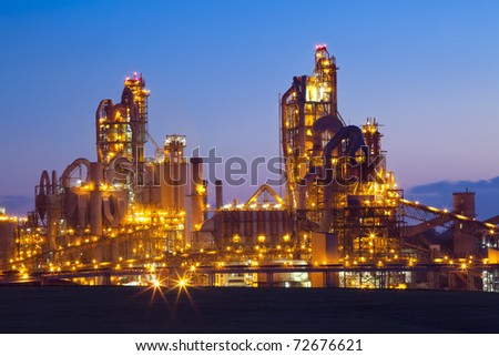 Night panorama image of chemical plant at Sunset. Modern factory.