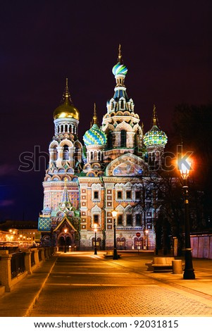 Night panorama of ancient city church (St. Petersburg, Russia)