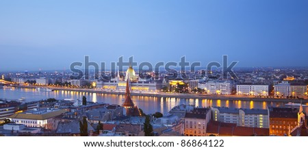 Night panorama of Budapest with Danube and Parliament