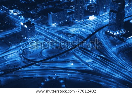 Night Panorama of Dubai. Transport road junction.