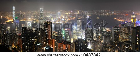 Night panorama of Hong Kong from Victoria peak - stock photo
