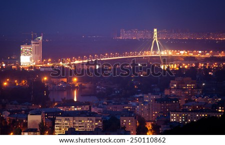 Night panorama of Kiev, a view of the left bank. Ukraine