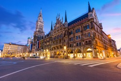 Night panorama of Marienplatz and Munich city hall in Munich, Germany