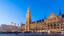 Night panorama of Marienplatz, Munich City, Germany.