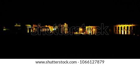 Night Panorama of Palmyra columns and ancient city