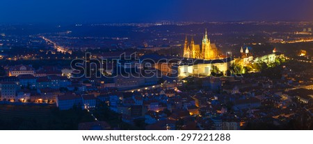 Night panorama of Prague, Czech Republic. Castle, St. Vitus Cathedral. Panoramic night view to Lesser Town, Prague castle and St. Nicholas church. UNESCO heritage sites