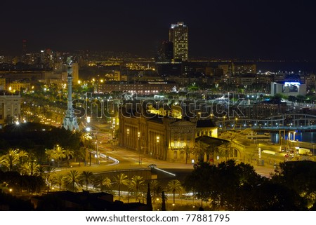 Night panorama of the city of Barcelona Spain, From the mountain of Montjiuc.