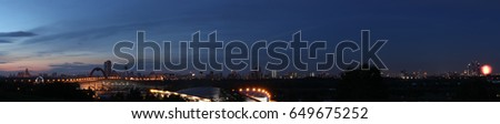 Night panorama of the Moscow city (with the salute fires in the right corner).  15376x3121 resolution #649675252