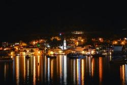 Night panorama, town Vis waterfront, famous sailing destination in croatia