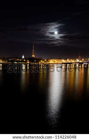 night panoramic scene in Riga, Latvia