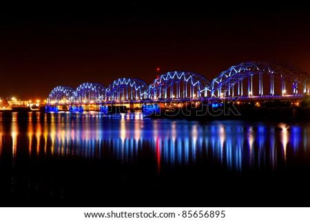 night panoramic scene in Riga, Latvia #85656895