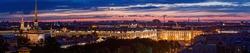 Night panoramic shot of Saint Petersburg's historical center while bridges is opened.