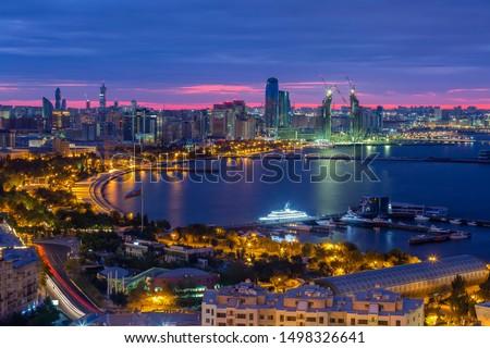 Night panoramic view of the city and seaside boulevard. Baku citycapital of Azerbaijan.
