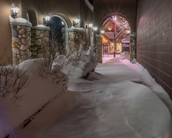 Night pedestrian passageway with snow in Canmore, Alberta, Canada