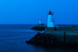 Night photo of the Lighthouses at Le Port Haliguen, Quiberon, France