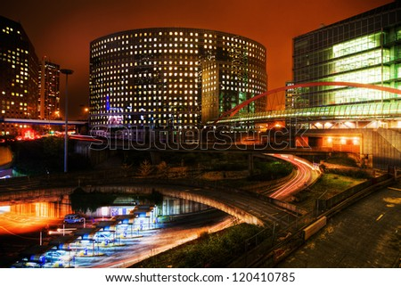 night photography of the office district La Defense in Paris