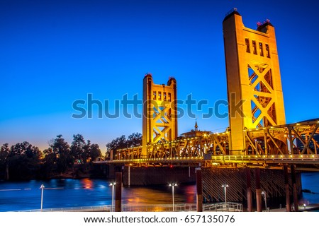 Night Photography of the Sacramento Tower Bridge #657135076