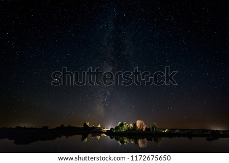 Night photography with Milky Way in Natural Area of Barruecos. Extremadura. Spain.