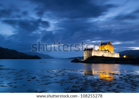 Night picture of Elian Donan Castle, Isle of Skye, Scotland