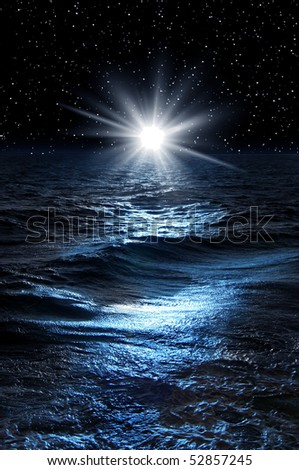 Night picture with sea  and star