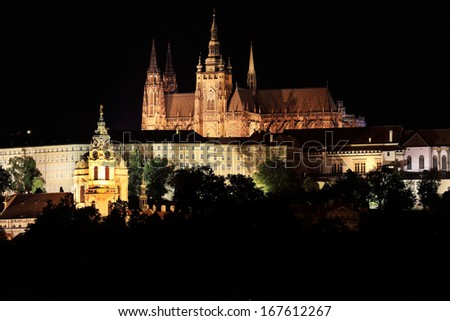 Night Prague gothic Castle above River Vltava, Czech Republic #167612267