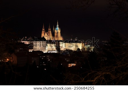 Night Prague gothic Castle, Czech Republic #250684255