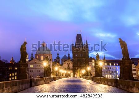 Night Prague, view from Charles Bridge. #482849503