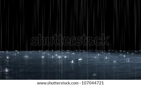 Night rain. 3d rendering