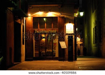 night restaurant and hotel in barcelona, spain, catalonia