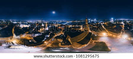 Night Riga 360 VR Drone picture for Virtual reality, Panorama