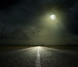 Night Road and moonlight