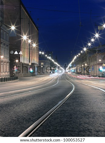 Night road in the city. St. Pererburg Russia