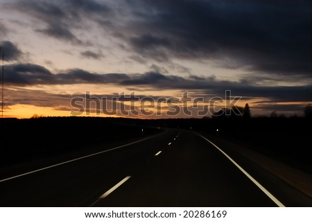 Night road, Järvamaa, Estonia
