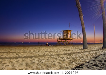 Night scene as sunsets on Southern California beach