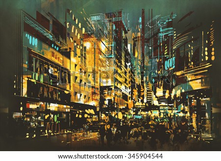 night scene cityscape,abstract art painting,illustration