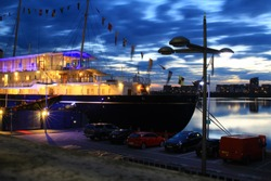 Night scene from Leith harbour near the Royal Yacht Britannia