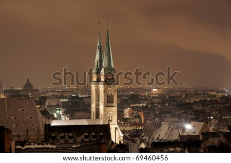 Night scene from Nuremberg with St Lawrence Church at foreground