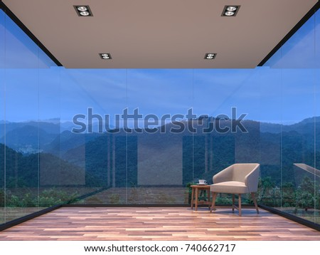 Night scene glass house living room with mountain view 3d rendering image.The room has wooden floor,There are large frame less glass window overlooking to the mountain and nature