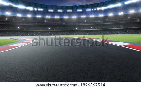 Night scene international race track. 3d rendering Foto stock ©